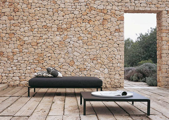 modernist stone wall