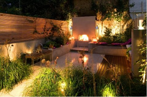 garden fireplace night