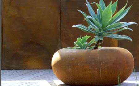 copper planter with Sempervivum