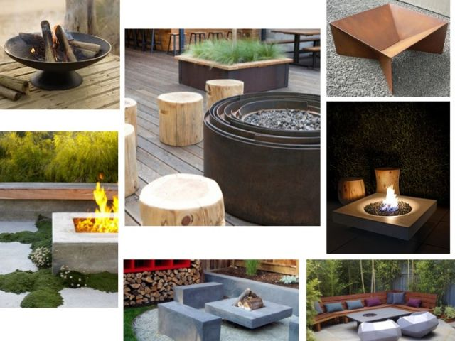 fire pit bowl in garden